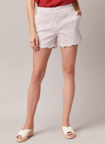 Stripe Print Scalloped Hem Shorts, White,  shorts, stripe print, scalloped hem, pockets, bengaline, spring summer 2020