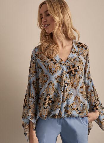 Blouse en mousseline à motif baroque, Bleu,  blouse, manches longues, baroque, mousseline, cache-cœur, printemps été 2020