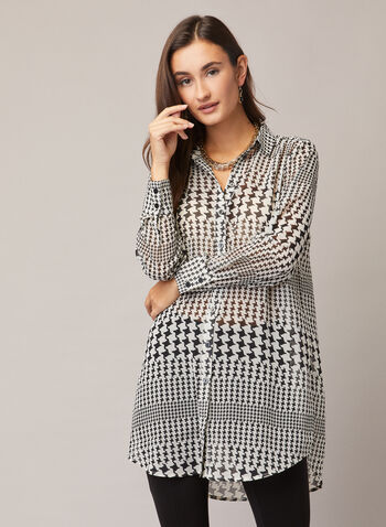 Houndstooth Print Tunic Blouse, Black,  tunic, shirt collar, blouse, houndstooth, chiffon, button front. high low, fall winter 2020
