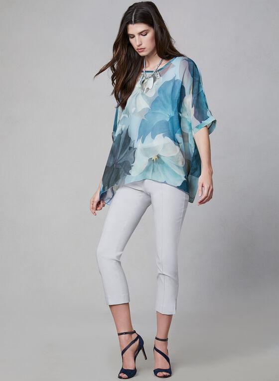 Compli K - Floral Print Sheer Kimono Top, Blue