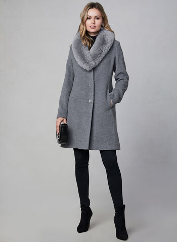 Mallia - Shawl Collar Wool Blend Coat, Grey,  wool coat, Mallia, fox fur, wool, cashmere, long sleeves, fit and flare, fall 2019, winter 2019