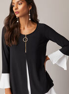 Joseph Ribkoff - Zipper Collar Contrast Top, Black