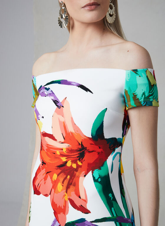 Frank Lyman - Floral Print Off-the-Shoulder Dress, Off White, hi-res