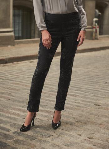 Joseph Ribkoff - Floral Pull-On Jeans, Grey,  fall winter 2021, fall 2021, Joseph Ribkoff, Frank Lyman, online exclusive, pull-on, elastic waist, slim leg, 5 pocket, pockets, rivets, tonal, tone-one-tone, floral, flocking, stretch denim, denim, jeans, pants, bottoms