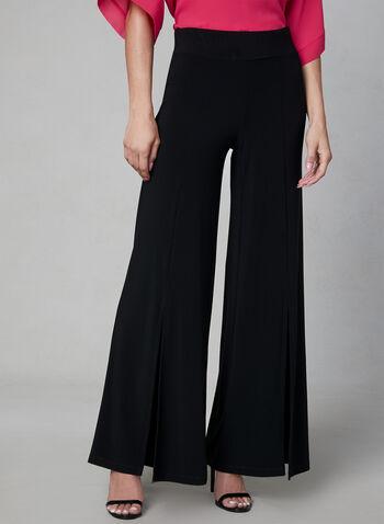 Pantalon pull-on à jambe large, Noir, hi-res,  pantalon, jambe large, pull-on, fente, jersey, automne hiver 2019