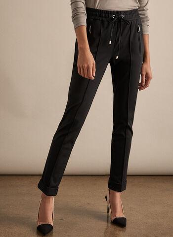 Pantalon décontracté avec lien à nouer, Noir,  printemps été 2020, pantalon, décontracté, jambe étroite, ourlet replié, confortable, extensible, week-end