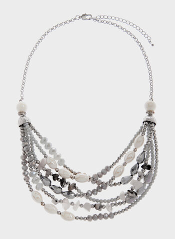 Collier multi-rangs à billes et pierres, Gris, hi-res