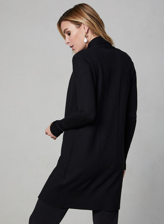 Long Open Front Cardigan, Black