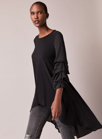 Joseph Ribkoff - Tiered Sleeve Tunic, Black,  top, tunic, high low, tiered sleeves, pintuck, fall winter 2020, Frank Lyman