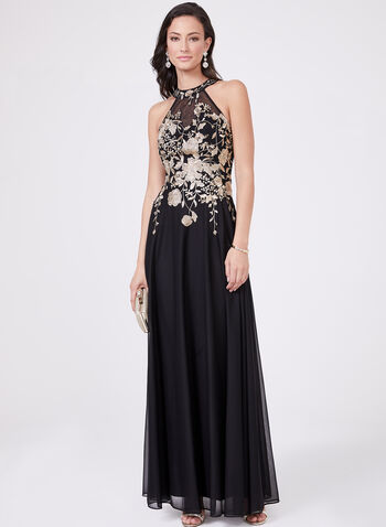 Cachet – Illusion Neck Floral Embroidery Gown, Black, hi-res