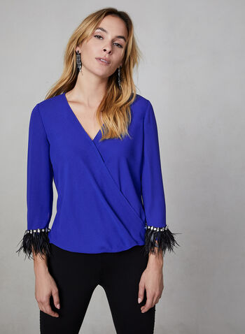 Feather Trim Blouse, Blue,  blouse, top, feathers, crossover front, long sleeves, fall 2019, winter 2019