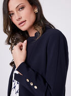Cropped Button Detail Jacket, Blue, hi-res