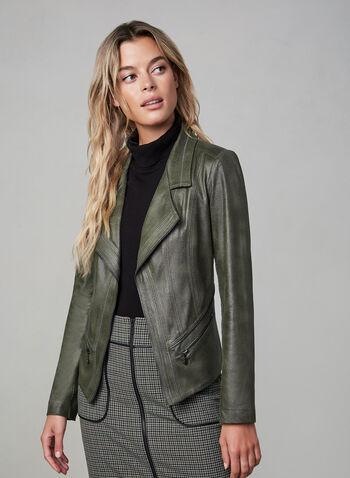 Vex - Blazer en faux cuir et détails zippés, Vert, hi-res,  blazer, manches longues, col cranté, faux cuir, détails zippés, ouvert, automne hiver 2019