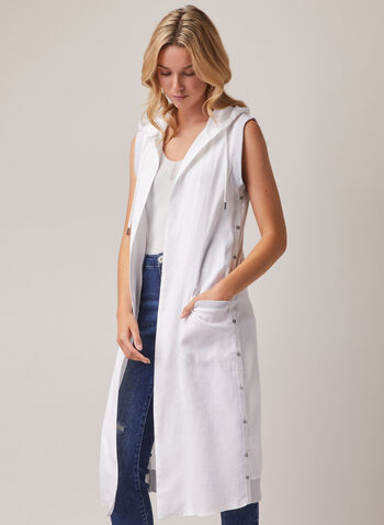 Sleeveless Hooded Linen Duster, White,  duster, sleeveless, hood, linen, spring summer 2020