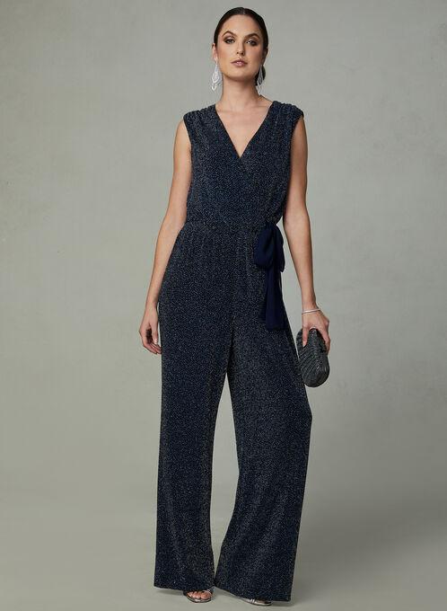 SD Collection - Glitter Jumpsuit, Black, hi-res