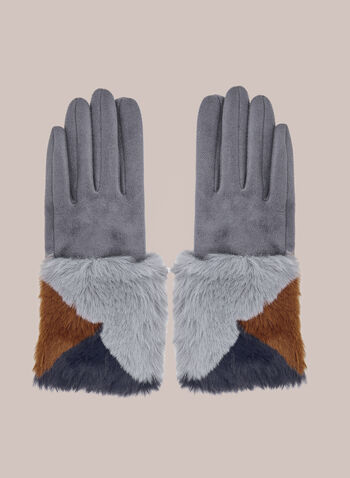 Faux Fur Detail Gloves , Grey,  gloves, faux suede, faux fur, colour block, fall winter 2020