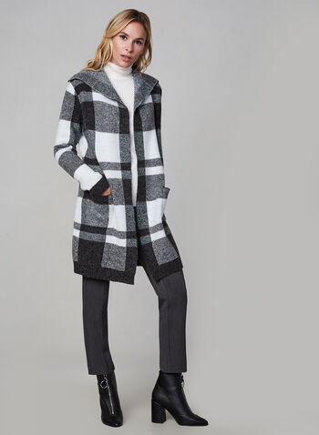Alison Sheri – Colour Block Knit Cardigan, Grey,  knit coat,