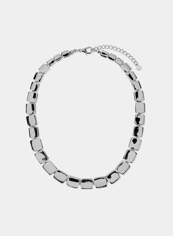 Metallic Square Necklace, Silver, hi-res