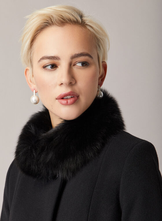 Mallia - Fur Collar Flared Coat, Black