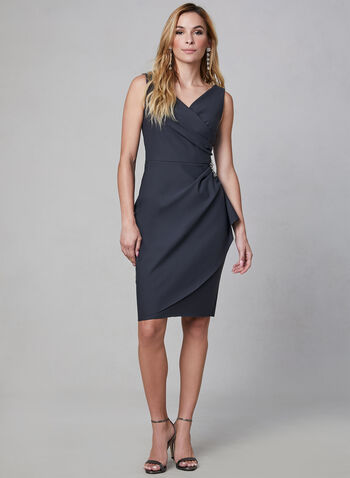 Alex Evenings - Crystal Embellished Sheath Dress, Grey, hi-res,  sleeveless, crystals, surplice neckline,