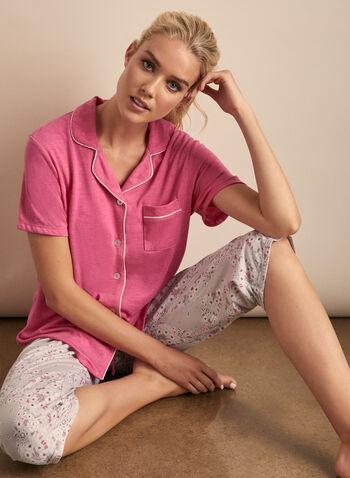 Claudel Lingerie - Shirt & Capri Pyjama Set, Pink,  pyjamas, set, ensemble, capri, shirt, stretchy, floral, spring summer 2020