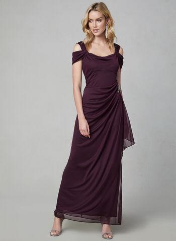 Alex Evenings - Draped Evening Dress, Red,  Mesh, sleeveless, cold shoulder, side slit, beading