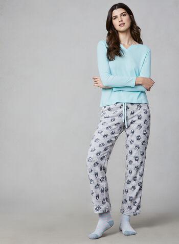 Pillow Talk - Pyjama 2 pièces avec chaussettes, Gris,  pyjama, haut, pantalon, chouettes, rayures, peluche, chaussette, manches 3/4, automne hiver 2019