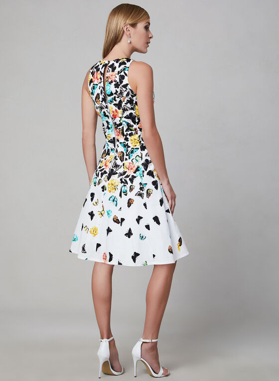 Maggy London - Floral Print Fit & Flare Dress, White, hi-res