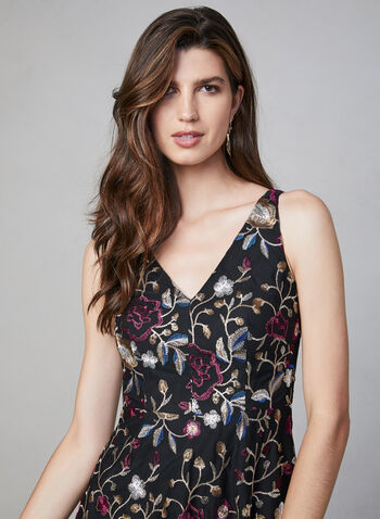 Vince Camuto - Embroidered Mesh Dress, Black, hi-res,  Vince Camuto, cocktail dress, sleeveless, V-neck, midi, floral, embroidered, mesh, fit and flare, fall 2019, winter 2019