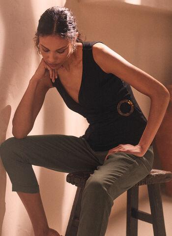 Sleeveless Crossover Top, Black,  top, v-neck, rib knit, buckle, sleeveless, spring summer 2020
