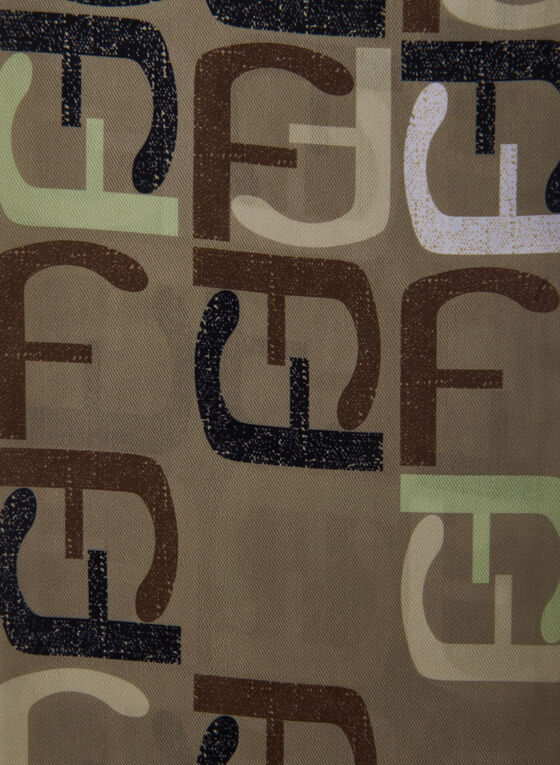 F Print Lightweight Scarf, Brown