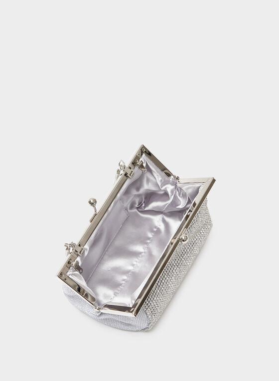 Handheld Crystal Embellished Mesh Pouch , Silver, hi-res