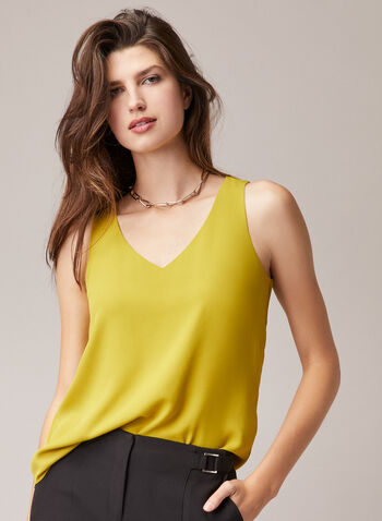 Sleeveless V-Neck Blouse, Green,  blouse, sleeveless, v-neck, spring summer 2020