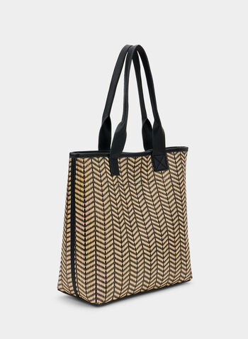 Herringbone Tote, Black, hi-res