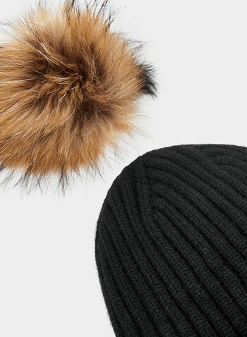 Fur Pompom Toque, Black, hi-res