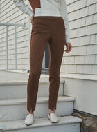 Faux Suede Pull-On Pants, Beige