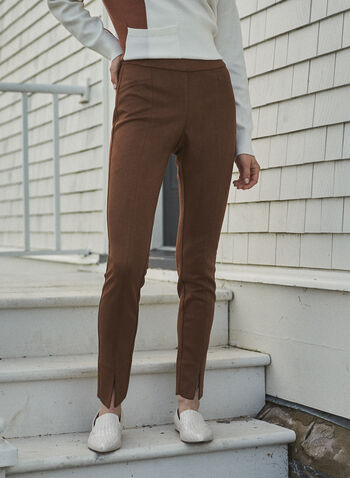 Faux Suede Pull-On Pants, Beige,  pants, faux suede, slit, slim leg, pull-on, fall winter 2020
