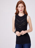 Sleeveless Perforated Knit Top, Black, hi-res