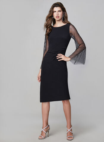 Cachet – Stud Detail Mesh Sleeve Dress, Black,  long dress, evening gown