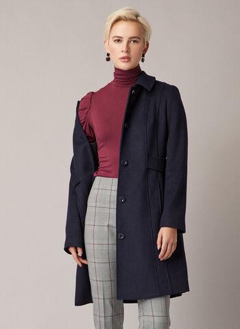 Manteau boutonné en laine mélangée, Bleu,  manteau, bouton, col chemisier, laine, poches, automne hiver 2020