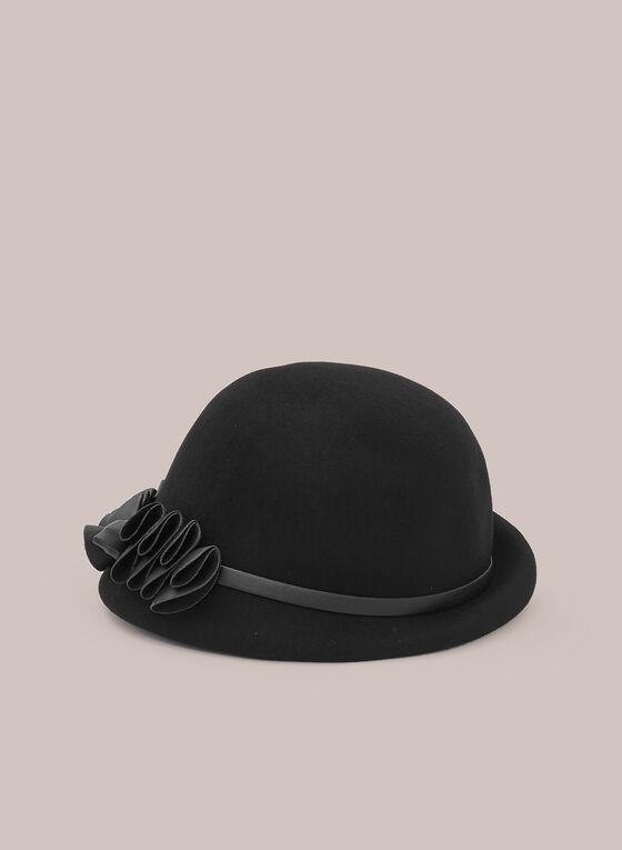 Vegan Leather Detail Cloche Hat, Black