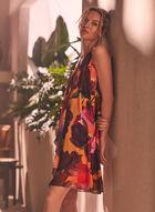 Floral Print Sleeveless Chiffon Dress, Black