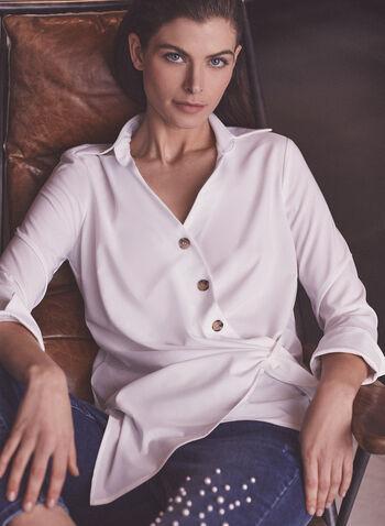 Joseph Ribkoff - Asymmetrical Button Front Blouse, White,  top, blouse, shirt collar, long sleeves, button front, asymmetrical, spring summer 2021