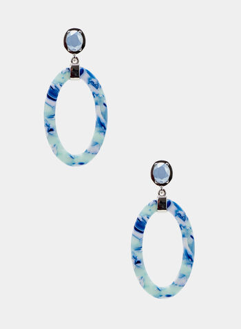 Marble Dangle Earrings, Blue, hi-res
