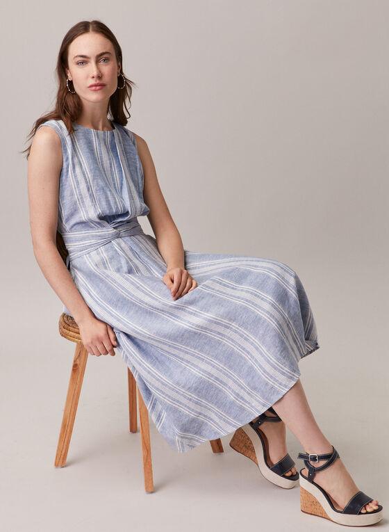 Maggy London - Robe rayée à détail torsadé, Bleu