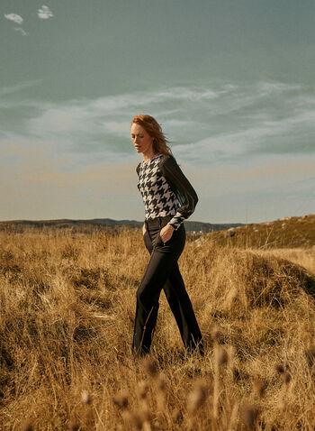 Blouse en crêpe à motif pied-de-poule, Noir,  automne hiver 2020, blouse, haut, manches bouffantes, manches longues, mousseline, crêpe, motif, pied-de-poule, fait au Canada, encolure bateau
