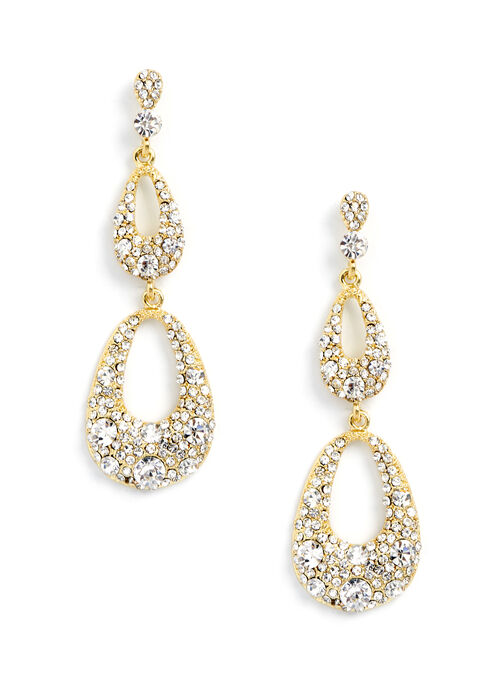 Open Teardrop Tiered Earrings, Gold, hi-res