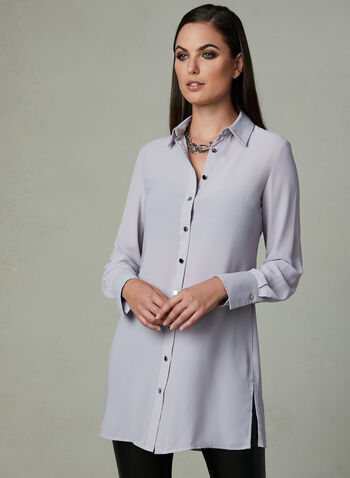 Long Sleeve Tunic Blouse, Silver, hi-res