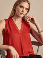 Vince Camuto - Sleeveless V-Neck Blouse, Red