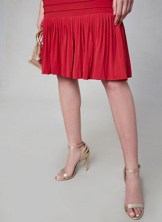 Adrianna Papell - Robe sans manches à ourlet plissé, Rouge, hi-res
